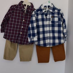 Carter's Button-Up Shirt and Pants- Two Sets!- 9M